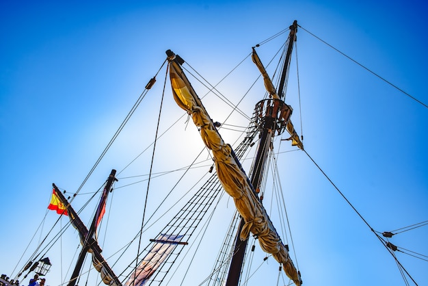 Sails and ropes of the main mast of a caravel ship, santa mari­a columbus ships