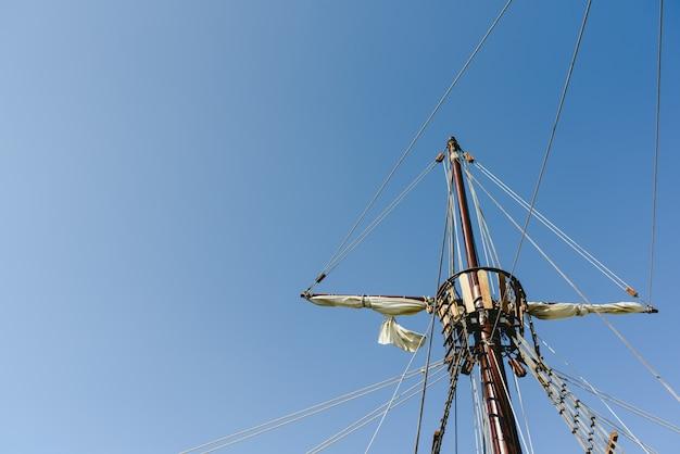 Sails and ropes of the main mast of a caravel ship, santa maria columbus ships