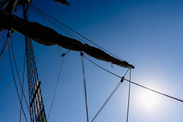 Sails and ropes of the main mast of a caravel ship, santa maría columbus ships