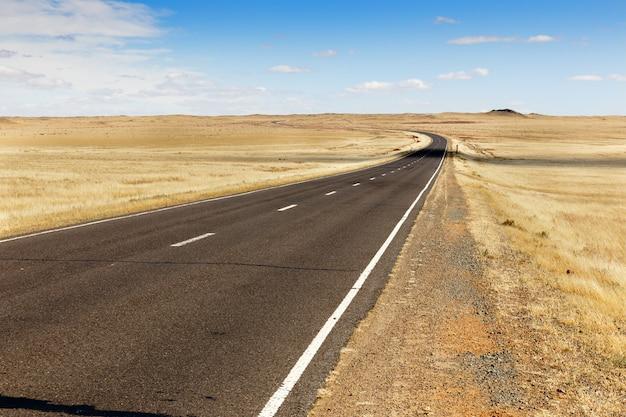 モンゴルのアスファルト道路sainshand zamiin-uud