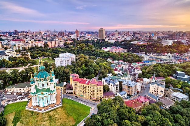 Saint andrew church and andriyivskyy descent in the old town of kiev, ukraine