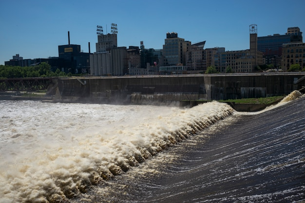 Saint anthony falls on the mississippi river, minneapolis, hennepin county, minnesota, usa