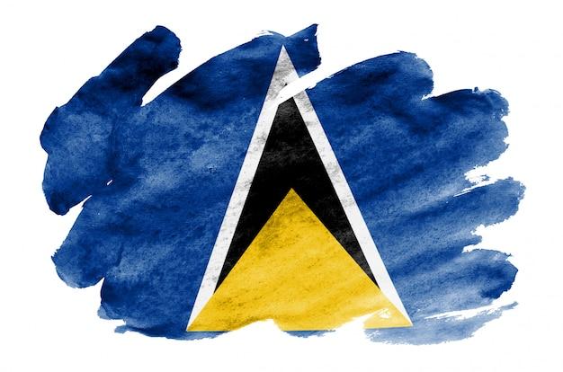 Флаг сент-люсии изображен в жидком стиле акварели на белом