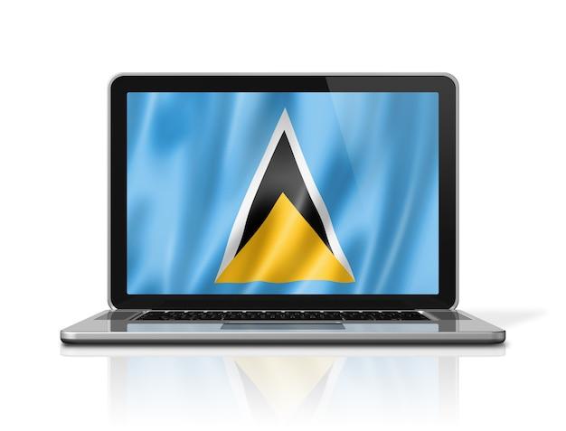 白で隔離されるノートパソコンの画面上のセントルシアの旗。 3dイラストのレンダリング。