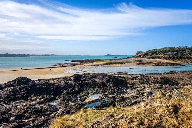 Saint-malo beach and seascape, brittany, france