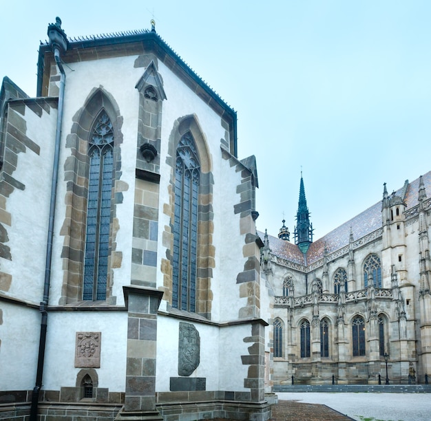 The saint michael chapel (14th century) and st. elisabeth cathedral behind (built between 1378 and 1508). kosice, slovakia.