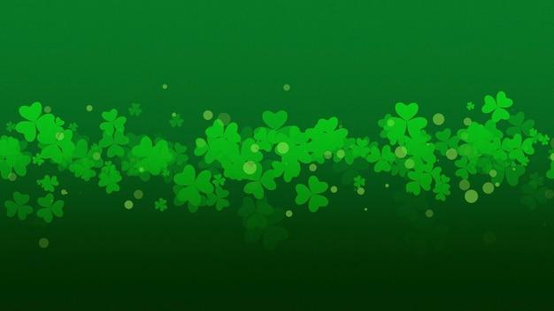 Предпосылка праздника дня святого патрика с зелеными трилистниками. роскошный и элегантный стиль 3d иллюстрации для праздника