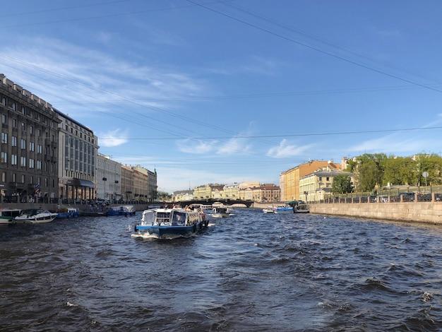 Saint-petersburg, anichkov bridge on the fontanka river. st.petersburg, russia.