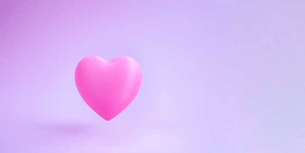 Saint valentines day heart. love day with cute pink bubble 3d effect levitation heart. space for text. gentle clear background