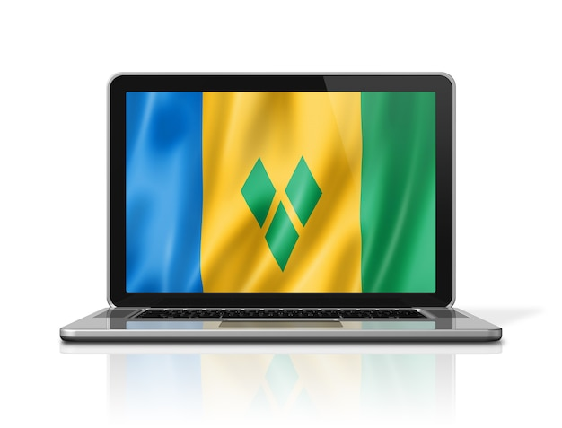 セントビンセントおよびグレナディーン諸島の旗は、白で隔離されたノートパソコンの画面に表示されます。 3dイラストのレンダリング。