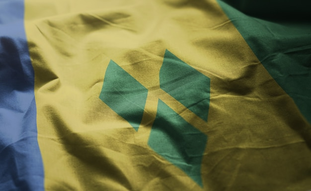 Saint vincent and the grenadines flag rumpled close up