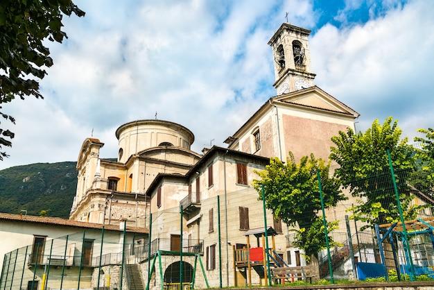 Saint zenone church in sale marasino at lake iseo in italy