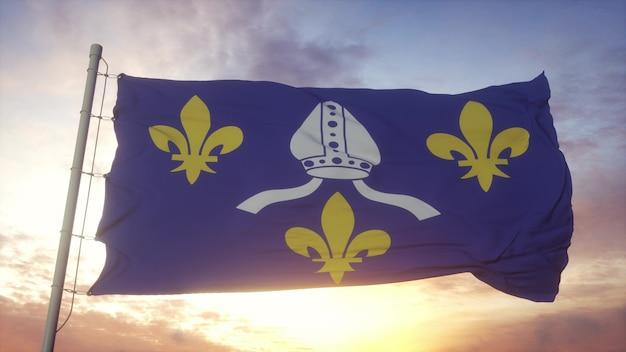 サントンジュの旗、フランス、風、空、太陽の背景に手を振っています。 3dレンダリング