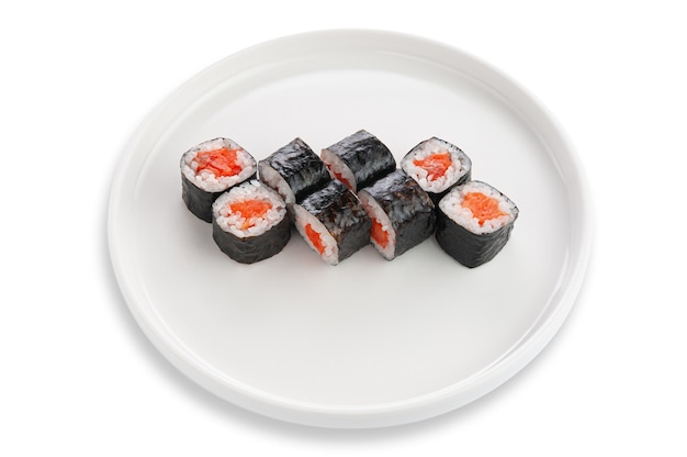Sake maki sushi with salmon. on a white ceramic plate. white background. isolated.