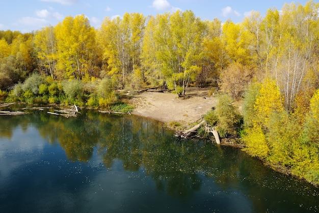 Saraktash 마을의 orenburg 지역에 있는 sakmara 강과 가을 숲 러시아