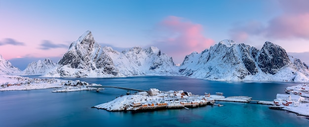 Sakrisoya island with mountains