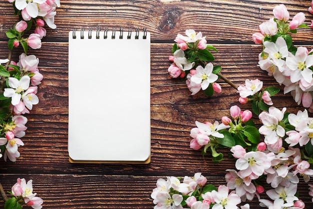 Sakura blossoms on dark rustic wooden background with a notebook. spring background with blossoming apricot branches and cherry branches