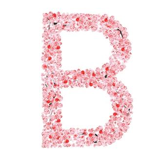 Sakura flower alphabet. letter b