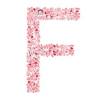 Sakura flower alphabet. letter f