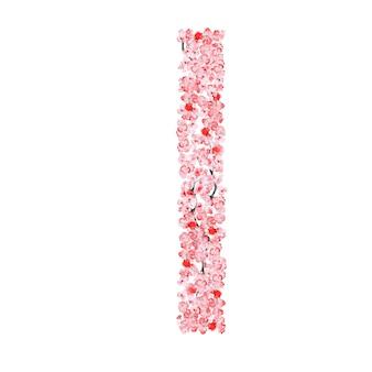 Sakura flower alphabet. letter i