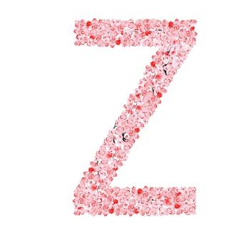 Sakura flower alphabet. letter z