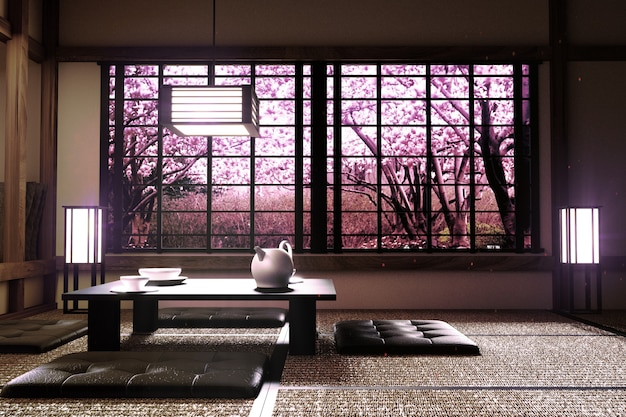 Sakura tree window view in room interior with zen style. 3d rendering