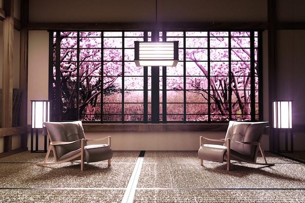 Sakura tree window view in room interior with ,zen style. 3d rendering