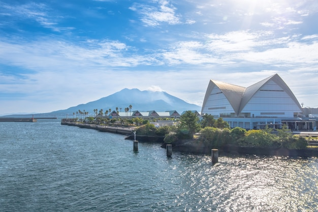 Sakurajima mountain, sea and blue sky background, kagoshima, kyushu, japan