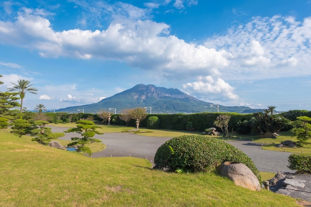 Sakurajima mountain, sea and blue sky background, kagoshima