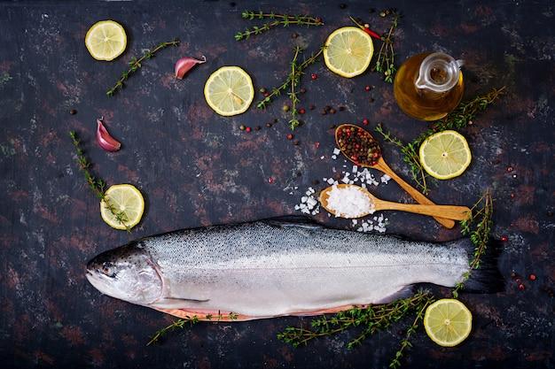 暗いテーブルの上の新鮮な生sal赤魚。平干し。上面図