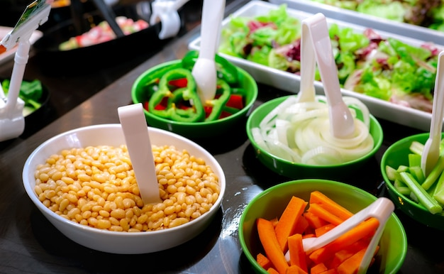 Salad bar buffet at restaurant. fresh salad bar buffet for lunch or dinner. healthy food.