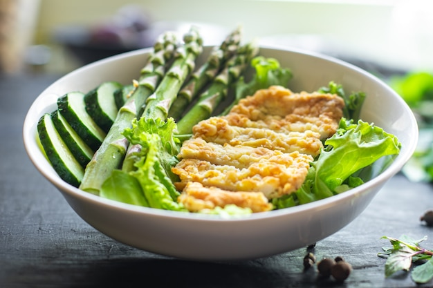 Salad bowl chicken meat asparagus greens salad leaves vitamin eating organic diet