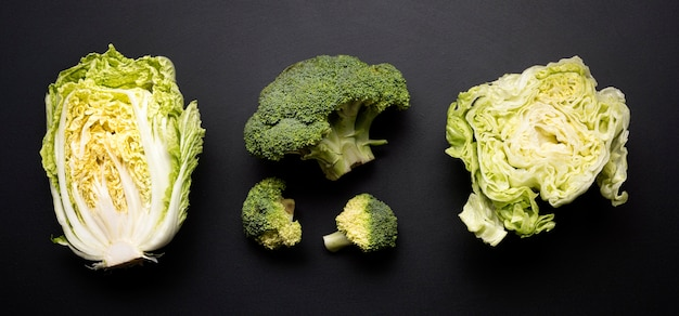 Salad and broccoli top view