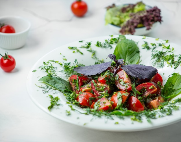 Salad caprese with pesto sauce