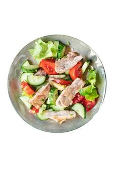 サラダ鶏胸肉野菜トマトきゅうりレタスダイエット食品食事おやつ