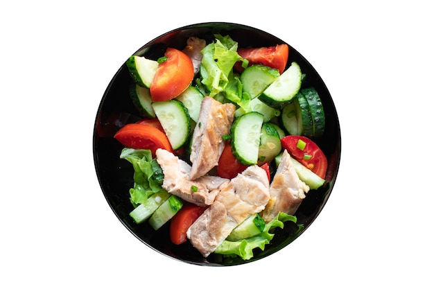 Salad chicken breast meat vegetable tomato cucumber lettuce diet food meal snack on the table