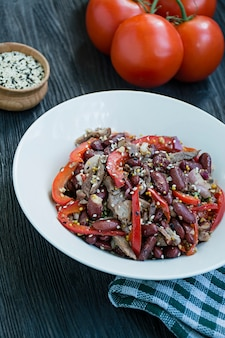 Salad from beef and beans, bell pepper. salad