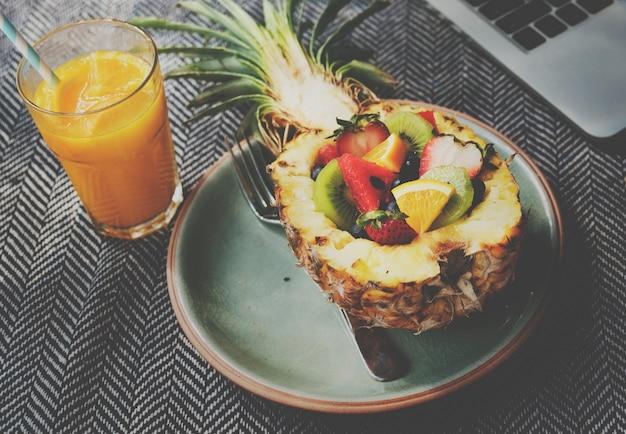 Salad fruits refreshment pineapple concept