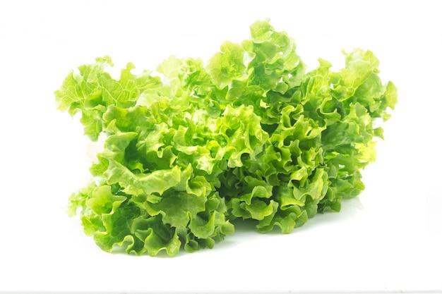 サラダの葉。レタスは、白い背景で隔離されています。