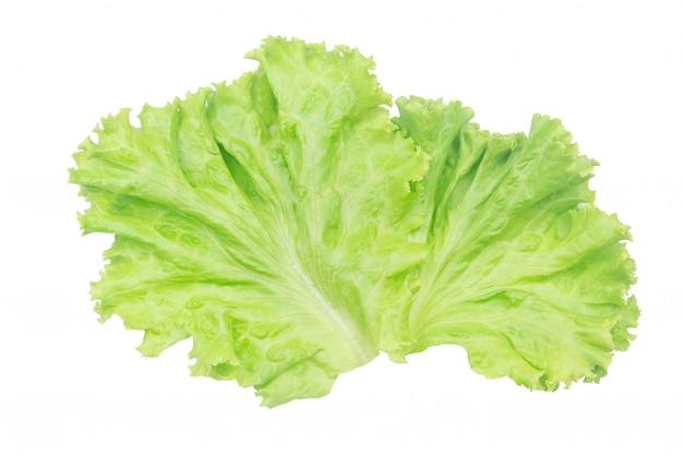 Салатный лист. салат изолированный на белизне с путем клиппирования