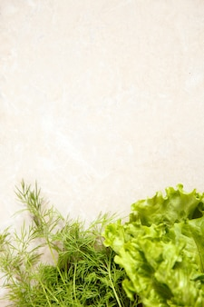 밝은 배경 위에 딜이 있는 샐러드 잎. 건강한 식생활의 개념입니다.
