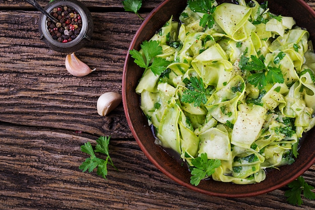 Salad of marinated zucchini in spices