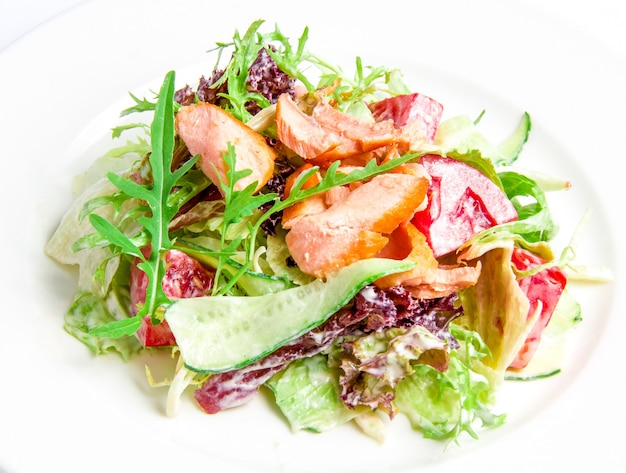 Salad mix with grilled salmon