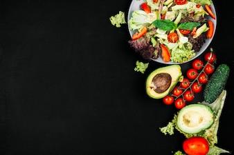Salad over chalkboard