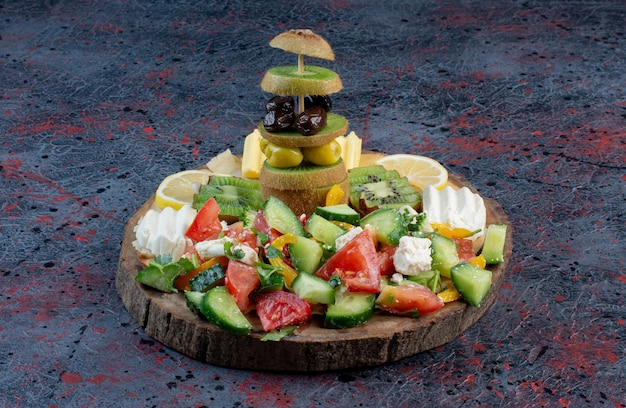 Salad platter with variety of ingredients.