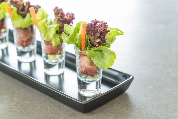 Salad roll with bacon