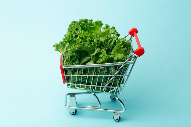 Salad in a supermarket cart.