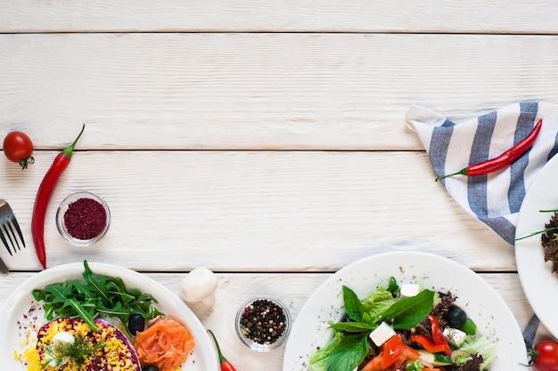 Salad table kitchen vegetable vegetarian organic cuisine buffet healthy food concept