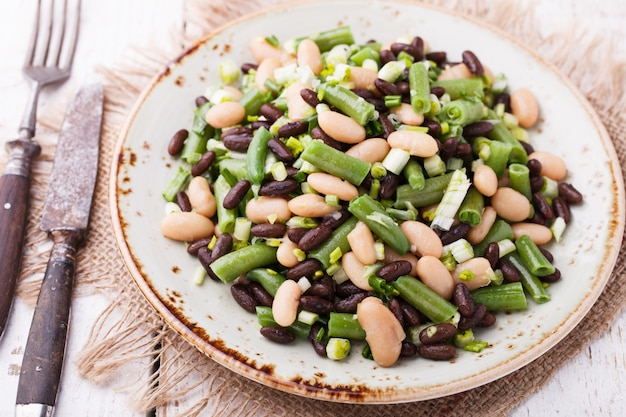Salad three-bean with garlic.