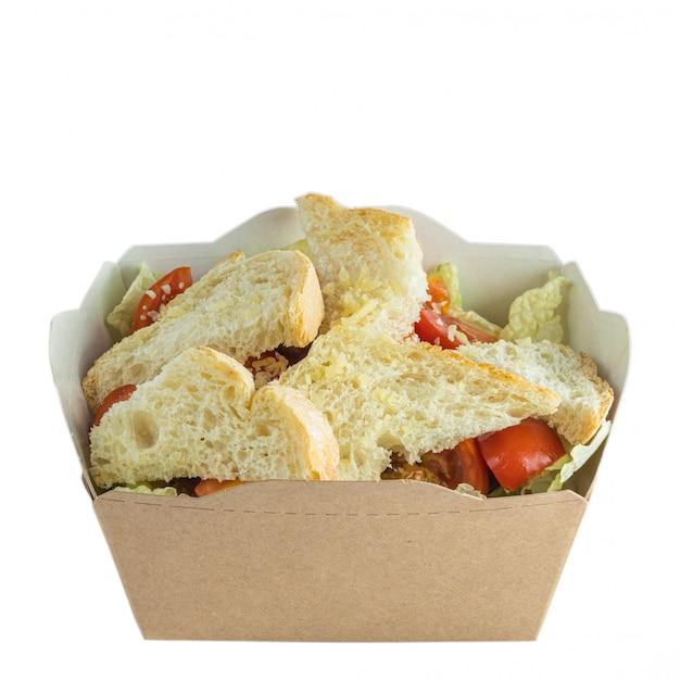 흰색 절연 종이 상자에 갈 샐러드